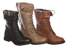 New! Military Combat Boot Fold-over Cuff + Zipper on the Back Multiple Color $31.05