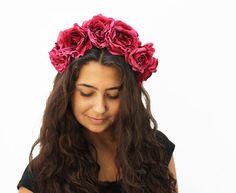 Watermelon Pink Flower Crown. Day of the Dead, Frida Kahlo Floral Crown, Rose Crown, Flower Headband, Dias de los Muertos, Boho, Gypsy on Etsy, $48.00
