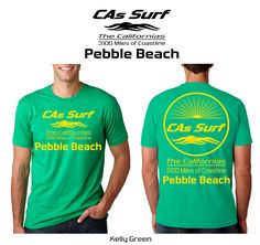 California T-Shirts | Pebble Beach, California -- Available for Retail Stores! Choose from over 250 surf locales from the mighty Pacific Ocean to the magical Sea of Cortez aka Gulf of California. Also, pick your own custom shirt/print color combos from a wide selection. Inquiries: info@GoCalifornias.com