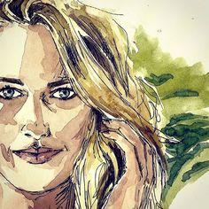 ELLIE #EllieJeanCoffey #Retrato #Portrait #Acuarela #Watercolor #Drawing #Sketch #Painting #Art #Illustration #Ilustracion #Dibujo #Surfing #Surfer #Australia #Spain
