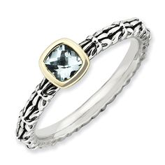 Sterling Silver & 14k Stackable Expressions Checker-cut Aquamarine Antiqued