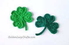 Using crochet hearts you can make a Crochet Shamrock for St Patrick's Day or a 4-leaf Lucky Clover appliques. Easy and fun to make!