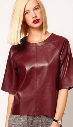 Wine red round neck fashion leather jacket 751  SALE 37.54 FAVORITE! FAVORITE! MUST HAVE!