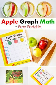 Apple Graph Math Activity and free Printable - (preschool, kindergarten, fall)