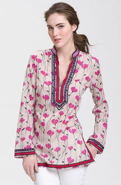 "Tory Burch ""Tory"" Mandarin Collar Tunic at Nordstroms."