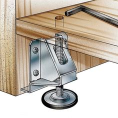 It's easy to lift and level furniture pieces up to 600 pounds with these threaded leveling feet. A hex wrench allows adjustment from the top side. Rockler Woodworking, Woodworking Shop, Woodworking Crafts, Woodworking Basics, Upscale Furniture, Diy Furniture, Barrel Hinges, Garage Design, Furniture Hardware