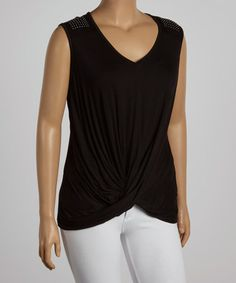Look at this #zulilyfind! Black Twist Studded V-Neck Top - Plus #zulilyfinds