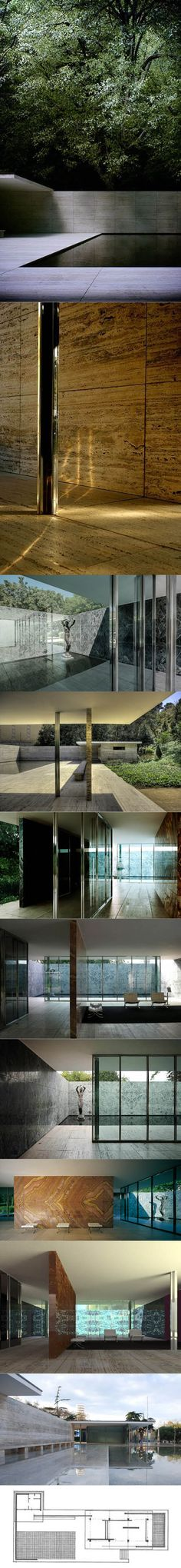 1929 Mies van der Rohe - Barcelona Pavilion / Spain / Germany / travertine steel concrete glass / cultural