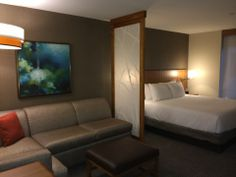 The hotel offers 159 spacious guestrooms, all of which feature a 42-inch HDTV, the plush Hyatt Grand Bed(R) and a Cozy Corner sectional sofa...