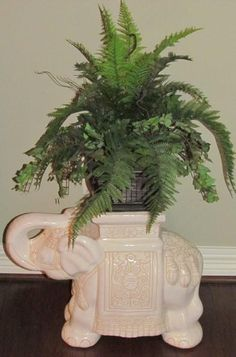 White Ceramic Elephant Plant Stand/Garden Stool Tall X Wide (Shown With  Silk Plant)