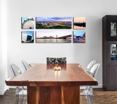 """CG Pro Prints offers premium quality Canvas Gallery Wraps at wholesale prices for professional photographers and digital artists. This horizontal grouping features four 10""""x10"""" and two 10""""x20"""" Canvas Gallery Wraps perfect for spicing up their dining or living room space. See all sizes and prices at CGProPrints.com"""