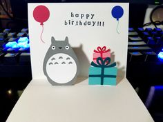 Totoro Card  Pop Up Card  Totoro Birthday Card by Choodaloo - #IHESF 2016 #Choodaloo