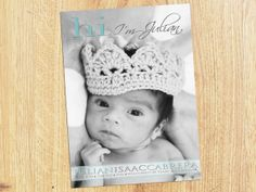 Hi BABY ANNOUNCEMENT  Photo Birth Announcement  Baby by babybaloo, $16.57