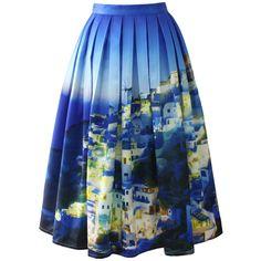 Chicwish Chicwish Santorini Print Pleated Midi Skirt (65 AUD) ❤ liked on Polyvore featuring skirts, bottoms, юбки, blue, suknje, multi, pleated midi skirt, mid calf skirt, knee length pleated skirt and blue print skirt