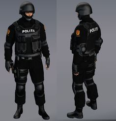 This is a SWAT uniform which police use in very tactical situations. It is very clear that the traditions uniform and the tactical one are very different this uniform is designed to protect the officer more. It also has an emotional aspect to it in the sense that that the color black is designed to spark fear in people. The use of the color black in theater is also sometimes to give a feeling of death or fear. These uniforms are designed with the intentions of scaring people.