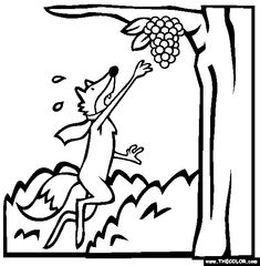 Free Aesops Fables Coloring Pages. Color in this picture of The Fox And The Grapes and others with our library of online coloring pages. Online Coloring Pages, Free Printable Coloring Pages, Coloring Books, Autumn Activities, Craft Activities, Preschool Crafts, Grape Drawing, Grape Color, How To Make Drawing