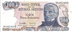 ARGENTINA CÉDULA DE CEM PESOS ANO 1983 - PEÇA CIRCULADA - PEÇA EM BOM ESTADO DE CONSERVAÇÃO