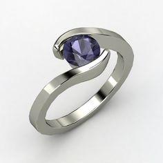 Round Iolite Platinum Ring | Ocean Ring | Gemvara
