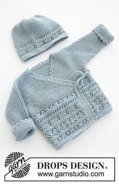 Odeta / DROPS Baby - Free knitting patterns by DROPS Design Odeta / DROPS Baby - The set consists of: Knitted baby jacket and slippers with lace pattern and garter stitch. The set is worked in DROPS BabyMerino. Baby Knitting Patterns, Knitting Designs, Baby Patterns, Free Knitting, Crochet Patterns, Finger Knitting, Scarf Patterns, Knitting Machine, Afghan Patterns