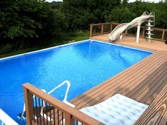 Above Ground Pool Slide, Rectangle Above Ground Pool, Rectangle Pool, In Ground Pools, Patio Plan, Pool Deck Plans, Deck Steps, Intex Pool, Dream Pools