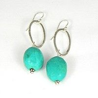 Scottsdale Turquoise Earrings, the simple and elegant design of this piece of handmade jewellery shows these lovely blue semi-precious stones off beautifully