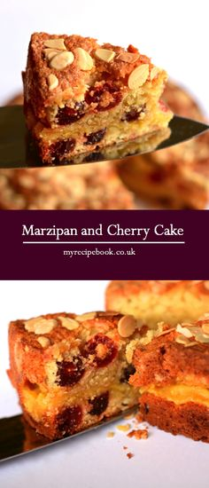 Almond sponge with cherries and a gooey marzipan centre