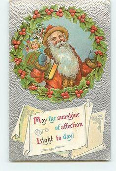 11908 Christmas Greetings Santa Claus Holly Ivy Wreath Doll Book Silver c1910 Em