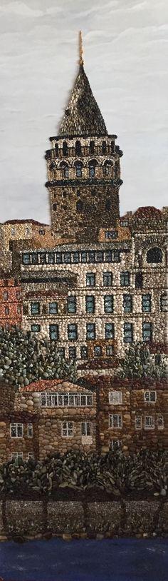 Pebble mosaic, Mozaik,Galata kulesi , Pebble art,pebblemosaic