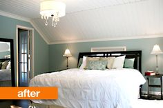 Before & After: An Elegant Bedroom Redo — Fixing It Fancy Attic Bedroom Small, Attic Bedrooms, Upstairs Bedroom, Home Bedroom, Diy Bedroom Decor, Home Decor, Bedroom Ideas, Cottage Bedrooms, Master Bedrooms