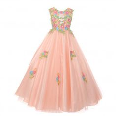 a0f37ee8ed6ab Big Girls Blush Pink Floral Embroidered Lace Tulle Junior Bridesmaid Dress  8-16 Junior Bridesmaid