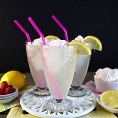 Homemade Lemonade with Raspberry Cream