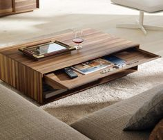 Unique Coffee Table Ideas with Sliding Storage for Decorative Family Room