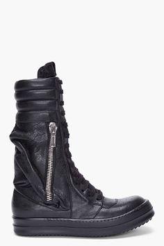 Rick Owens Black Cargo Basket Sneakers for Women | SSENSE
