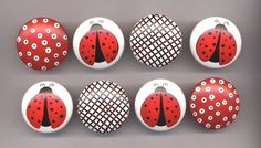 LADY BUGS and DOTS 2 inch Hand Painted by dreamscapedesigns. $42.00 USD, via Etsy.