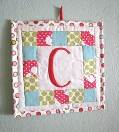Initial mini quilt to hang (baby gift idea?)