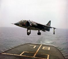 Harrier during helicopter pad trials aboard HMS Blake, 1969 Ww2 Aircraft, Aircraft Carrier, Military Aircraft, Hms Furious, Close Air Support, Flight Deck, Navy Ships, Royal Air Force, Royal Navy