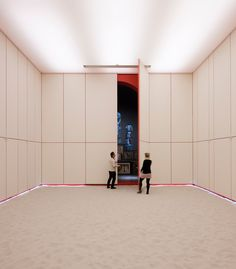 Archinet.com:ShowCase: VLP Chapel in Grand-Bigard  The chapel project for VLP, the Flemish Lasallian School Network, is a metaphor. See your belief unfolding inside of you through the concept of this architecture.  The entrance is white room with a white sand floor. Then the room literally unfolds to reveal existing stained glass windows and doors. The experience is one of opening out and expanding with your beliefs.