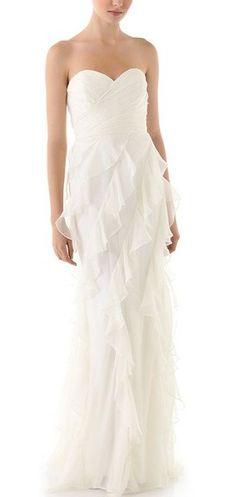 Iridescent Strapless Ruffle Gown