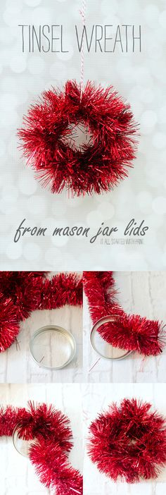 Mini Tinsel Wreath Ornament & A Link Party - It All Started With Paint