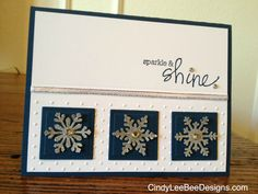 "STAMPS: Hampton Art-Studio G - INK:SU Midnight Muse - PAPER: SU Midnight Muse, SU Silver Glimmer, SU Whisper White - ACCESSORIES: SU rhinestones, random white/silver 1/8 "" ribbon - TOOLS: SU Perfect Polka Dots embossing folder, Nestabilities squares dies, MS snowflakes punches"