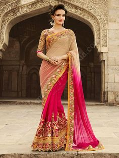 Пурпурно-бежевое красивое индийское сари