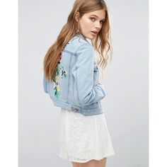 French Connection Dionne Embroidered Denim Jacket (£65) ❤ liked on Polyvore featuring outerwear, jackets, blue, embroidered jean jacket, blue cropped jacket, embroidery jackets, tall denim jacket and tall jackets