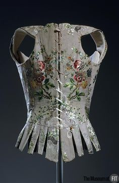 Back view, woman's stays, France, c. 1750. Multicolor silk brocade.