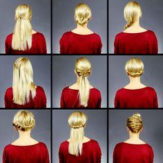 Easy Short Haircuts, Easy Bun Hairstyles, Popular Short Hairstyles, Short Hair Cuts, Short Hair Styles, Belleza Diy, Hair Upstyles, Beach Wave Hair, Braided Half Up