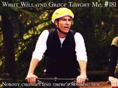 One of best episodes of Will & Grace. When They go on a bike-ride, nature day, & to pumpkin patch. My fave part is at the pumpkin patch. They r such New Yorkers, can't handle the outdoors. He doesn't like change. Will And Grace, Character Development, Screenwriting, Best Shows Ever, Movies Showing, Have Time, I Laughed, All About Time, Debra Messing