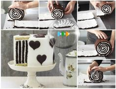 Tarta de rayas de chocolate. Hoy os ofrecemos hacer una magnífica tarta de rayas de chocolate con corazones de decoración, ideal para un cumpleaños o un ani