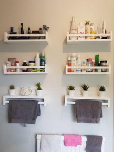IKEA spice racks, glossed white and put up in the bathroom for storage 👍🏻😊 Spice Rack Bathroom, Bathroom Storage Shelves, Diy Storage, Ikea Lack Shelves, Lack Shelf, Floating Shelves, Ikea Spice Rack Hack, Spice Racks, Master Bath Remodel