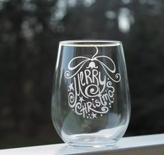 Etched Stemless Wine Glass, Christmas wine glass - 17oz, Wine Glasses, stemless wine glass, etched