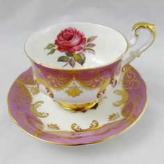 "Paragon Mauve Tea Cup and Saucer ""Antique Rose"", Signed by Artist (Reg Johnson), Vintage Bone China, Rose Tea Cup"