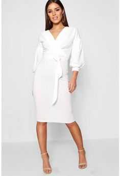 Petite Off The Shoulder Wrap Midi Dress - boohoo white dress 7777eec21